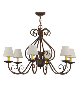 "36""W Jenna 6 LT W/Fabric Shades Chandelier"