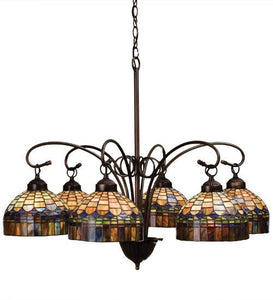 stained glass six light chandelier