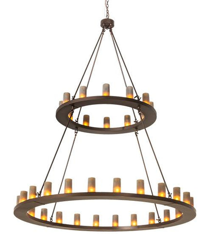 "Image of 72"" Wide Loxley 36 Light Two Tier Chandelier"
