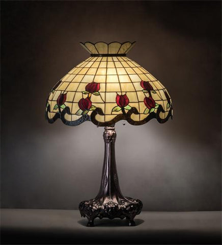 Image of floral rose design table lamp