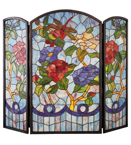 "40""W X 34""H Dragonfly Flower Fireplace Screen"