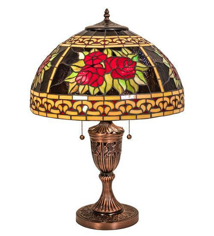 "Image of 25"" High Roses & Scrolls Table Lamp"