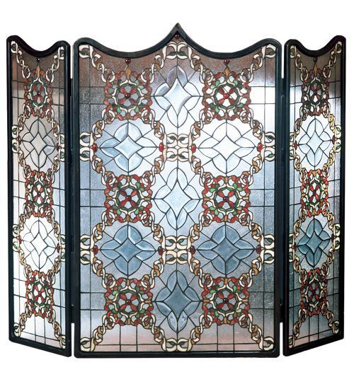 Victorian Beveled Glass Fireplace Screen