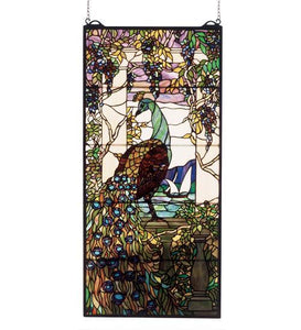 peacock wisteria stained glass window