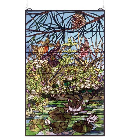 "30""W X 48""H Woodland LilyPond Stained Glass Window"