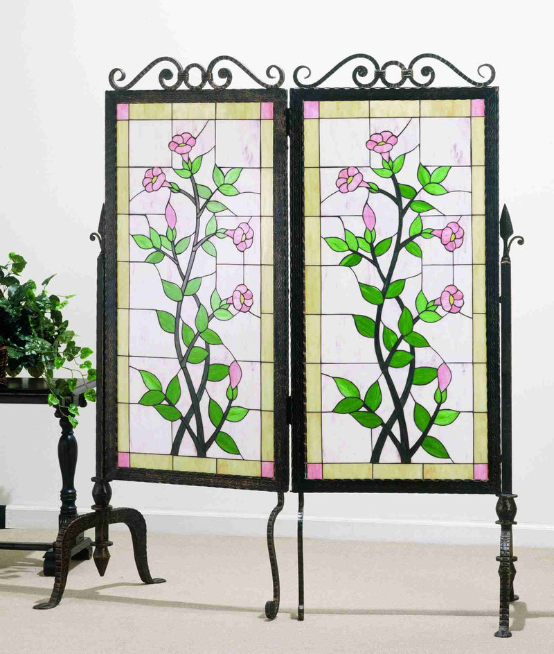 flower stained glass and metal panel