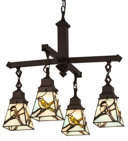 Image of birds design 4 light chandelier