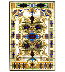 "32""W X 48""H Estate Floral Stained Glass Window"