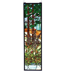 "12""W X 44""H Tiffany Foxgloves Stained Glass Window"