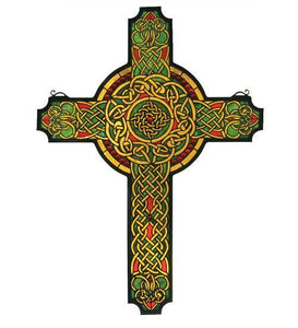 celtic cross stained glass window