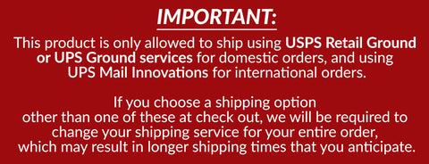 IMPORTANT:  This product is only allowed to ship using USPS Retail Ground or UPS Ground services for domestic orders, and using UPS Mail Innovations for international orders.  If you choose a shipping option other than one of these at check out, we will be required to change your shipping service for your entire order, which may result in longer shipping times that you anticipate. Details at https://thetinkerspacks.com/pages/faq