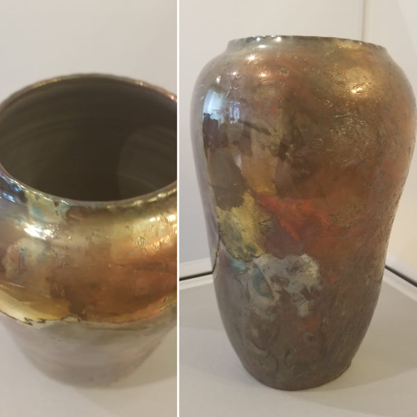 Pottery - Metallic Raku vase