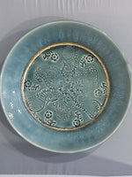 Pottery - Turquoise plate with paisley stamps and metallic ring