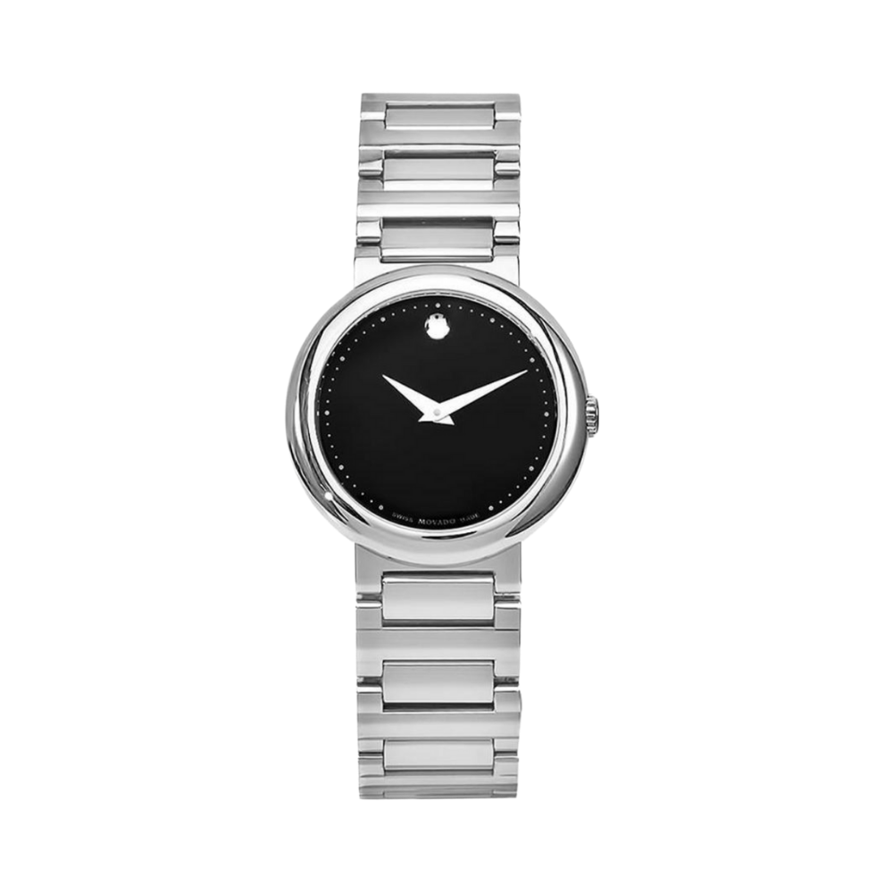 Movado Concerto Black Dial Stainless Steel Ladies Watch