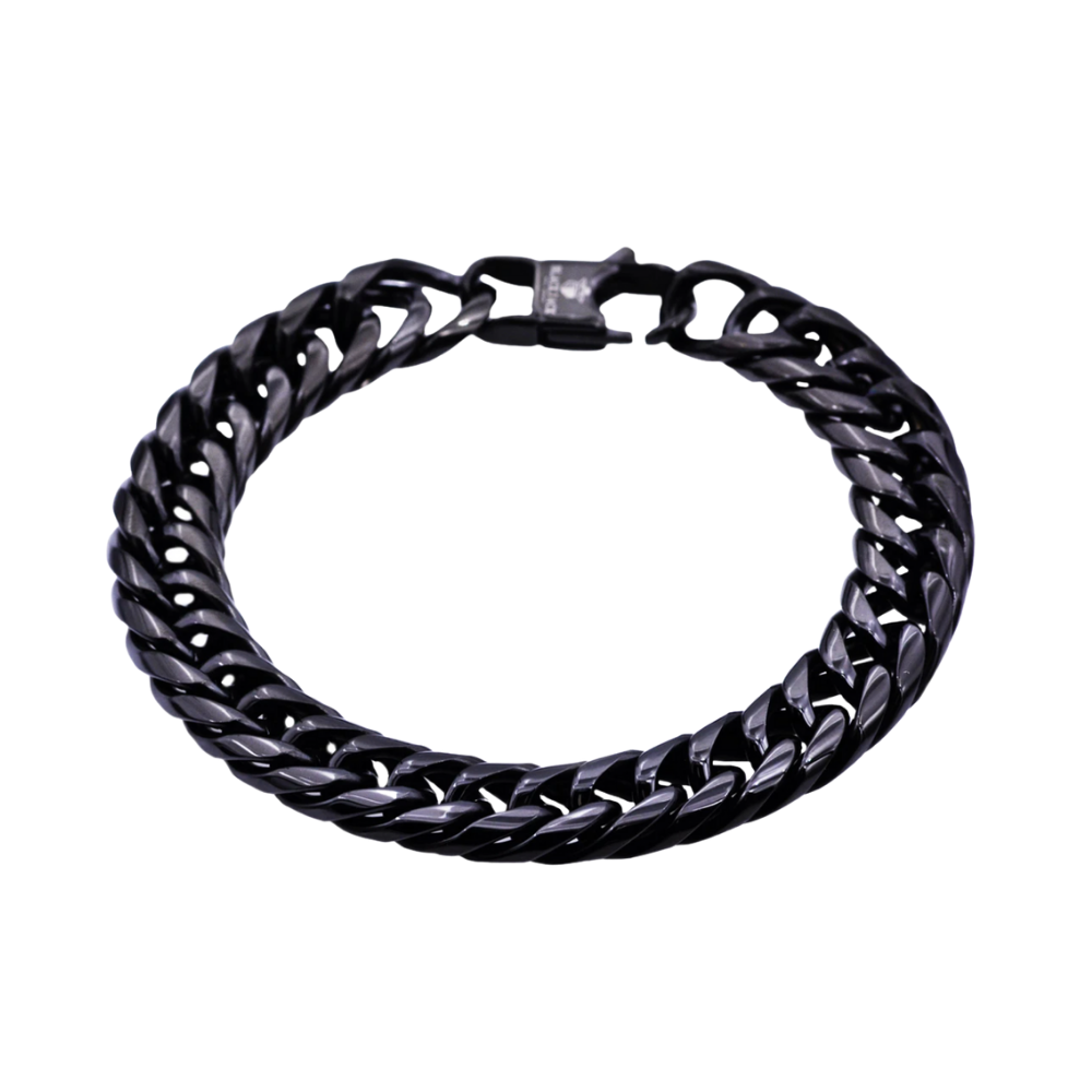 Black Plated Stainless Steel Double Cuban Link Chain Bracelet