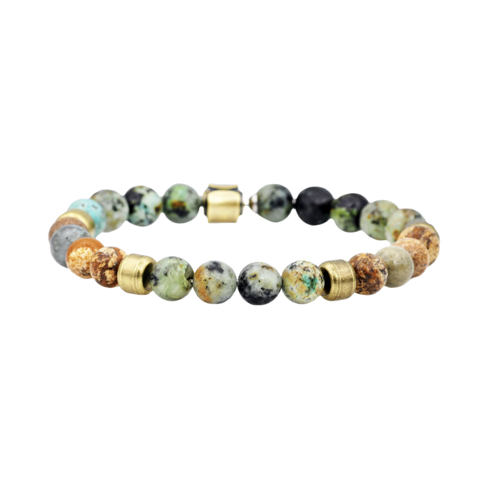 Genuine African Turquoise And Jasper Gold Stainless Steel Beaded Bracelet