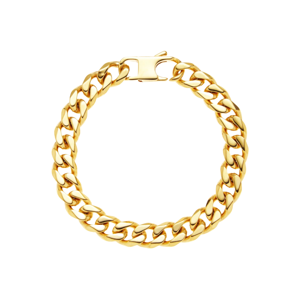 Gold Stainless Steel Cuban Link Chain Bracelet