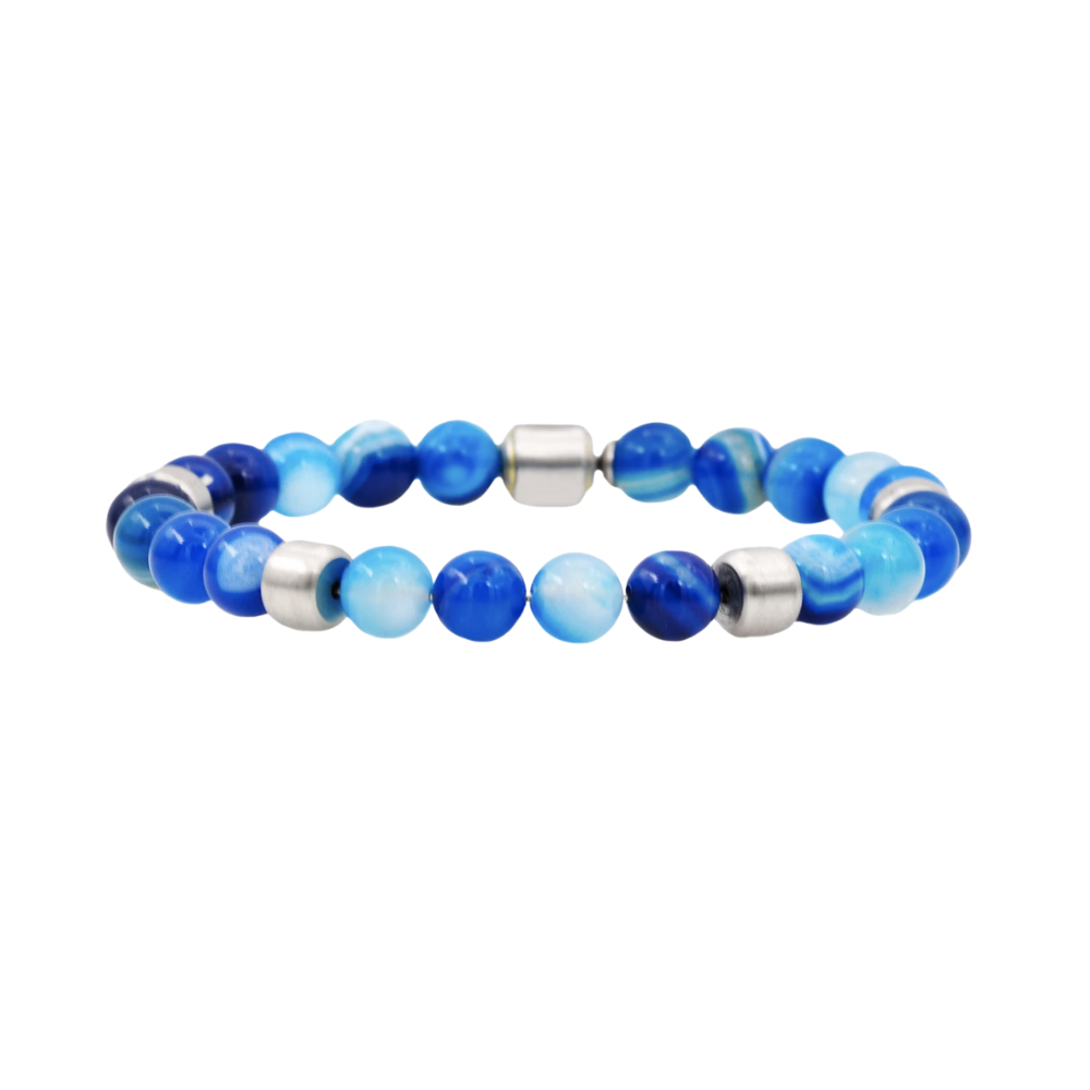 Genuine Blue Agate Stainless Steel Beaded Bracelet