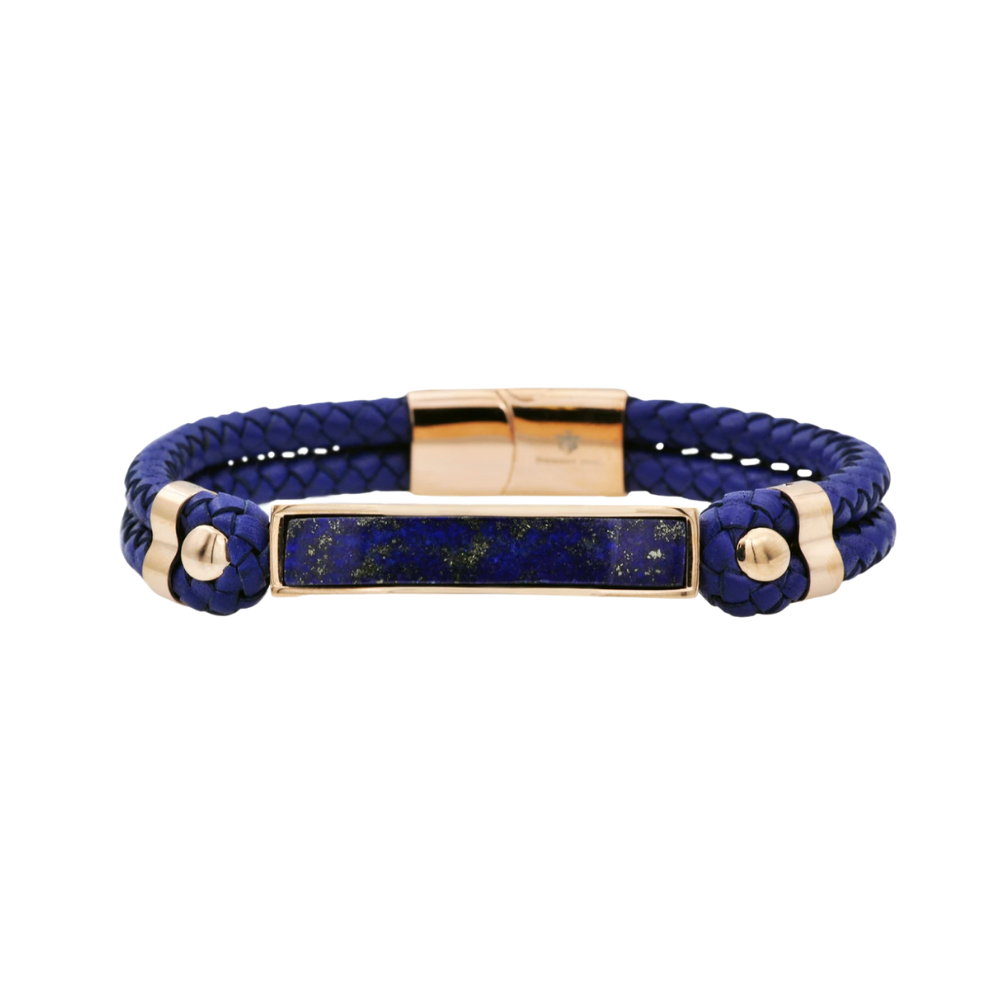 Genuine Lapis Lazuli And Navy Leather Rose Stainless Steel Bracelet