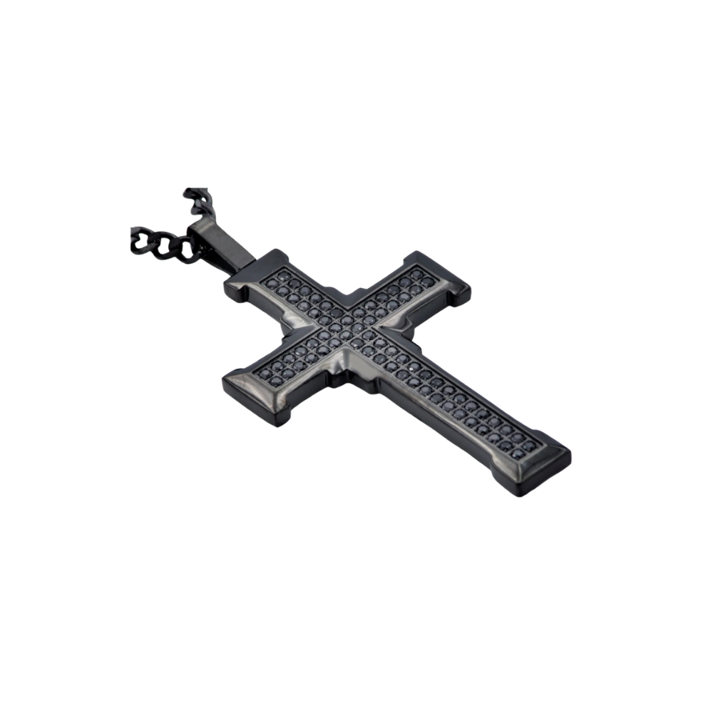 Black Stainless Steel Cross Pendant