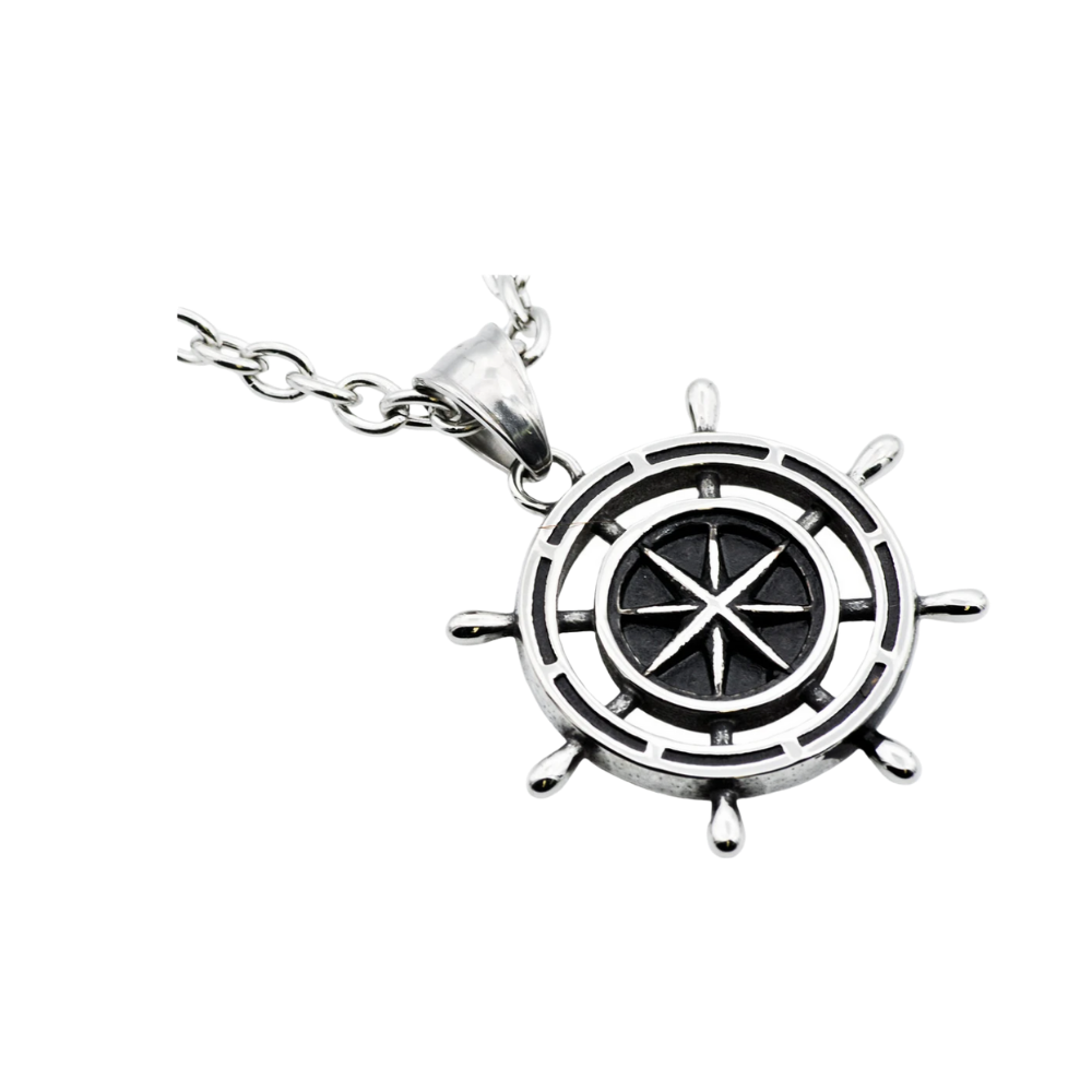 Stainless Steel Ship Helm Pendant