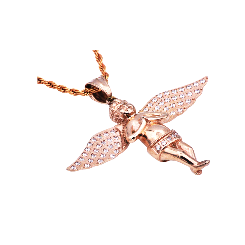 Rose Stainless Steel Cherub Pendant