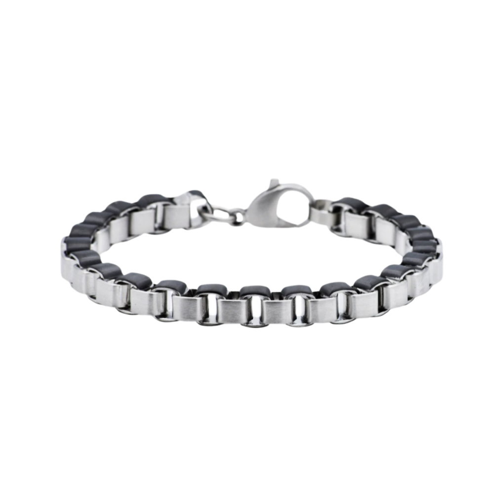 Black Stainless Steel Box Link Chain Bracelet