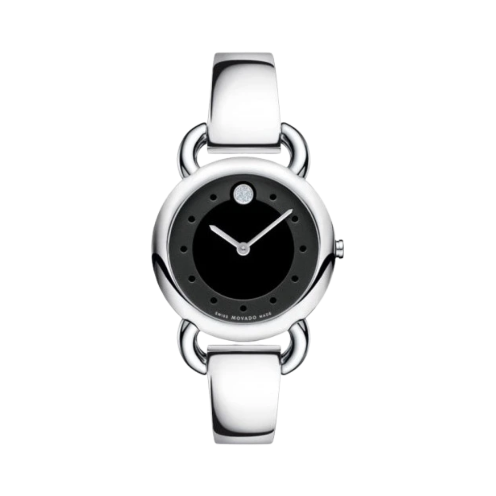 Movado Linio Diamond Black Dial Stainless Steel Bangle Ladies Watch