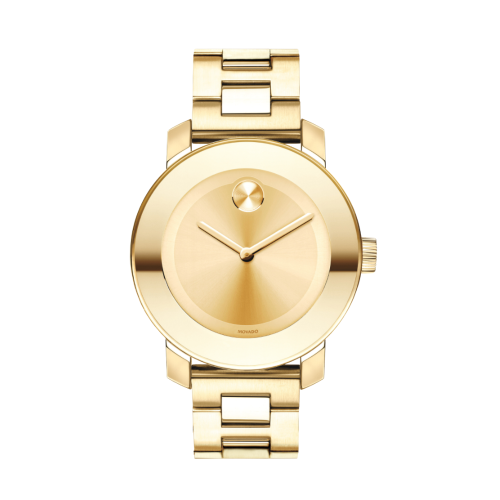 Movado Bold Champagne Dial Yellow Gold Ion-pated Ladies Watch