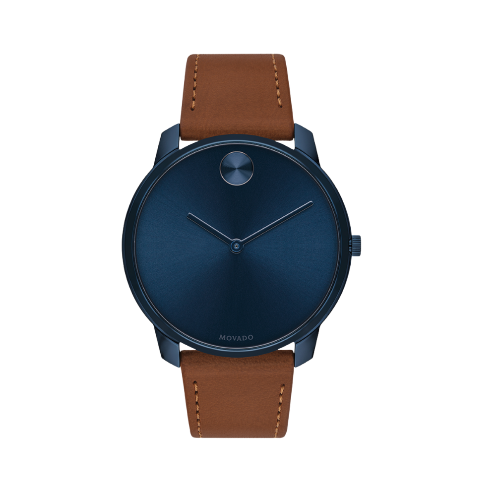 Movado Bold Quartz Blue Dial Brown Leather Men's Watch