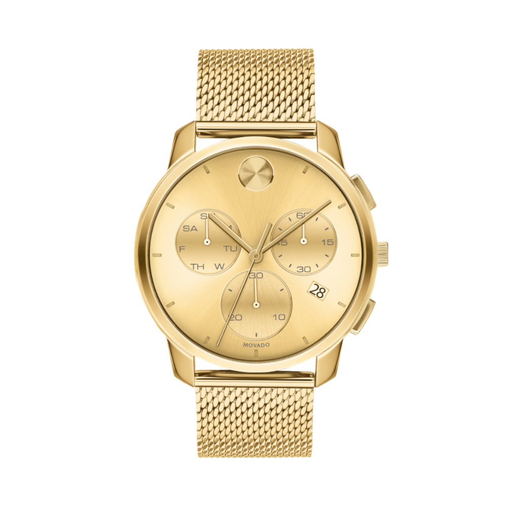 Movado Bold Thin Chronograph Quartz Gold Dial Men's Watch