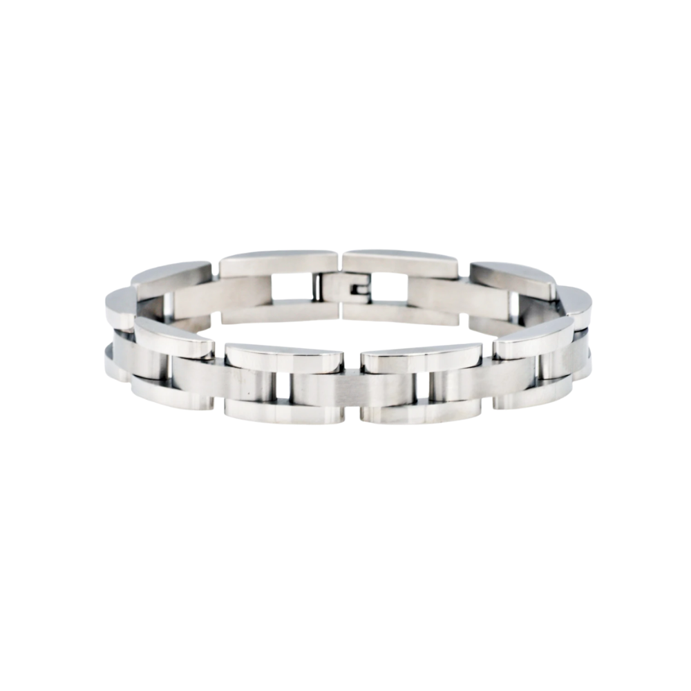 Curved Link Stainless Steel Bracelet