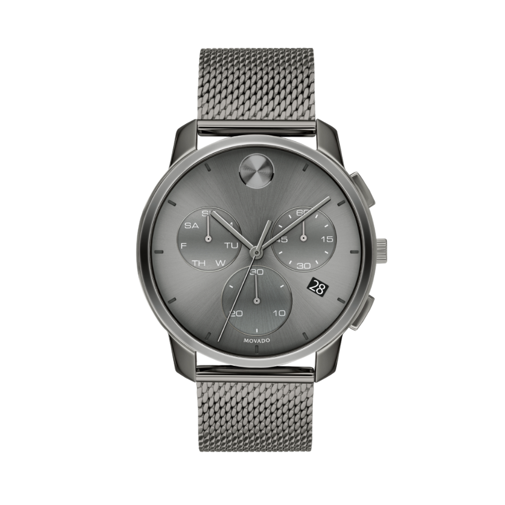 Movado Bold Thin Chronograph Quartz Grey Dial Men's Watch