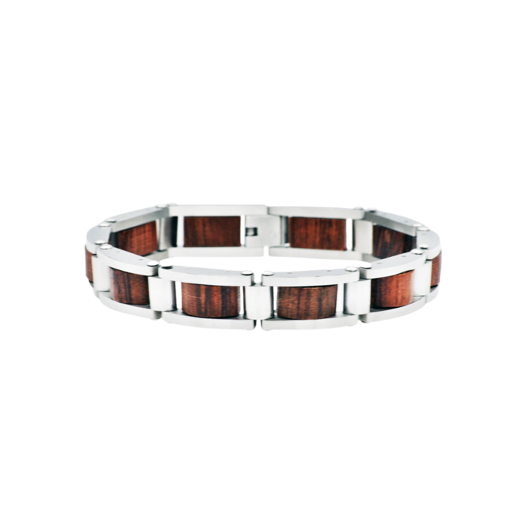 Stainless Steel And Wood Bracelet