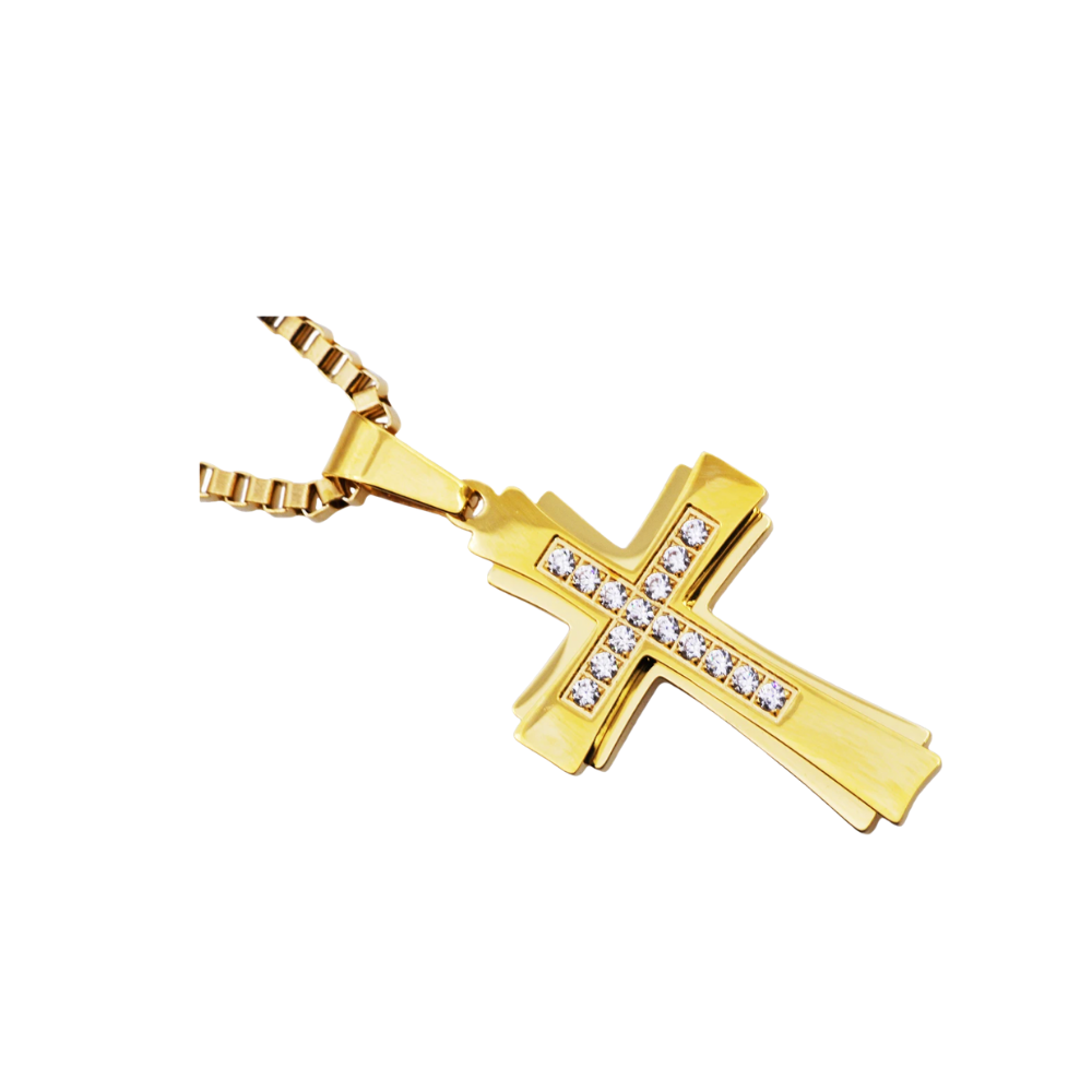 Gold Stainless Steel Cross Pendant