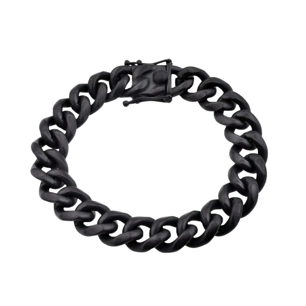 Matte Black Plated Stainless Steel 14mm Miami Cuban Link Chain Bracelet