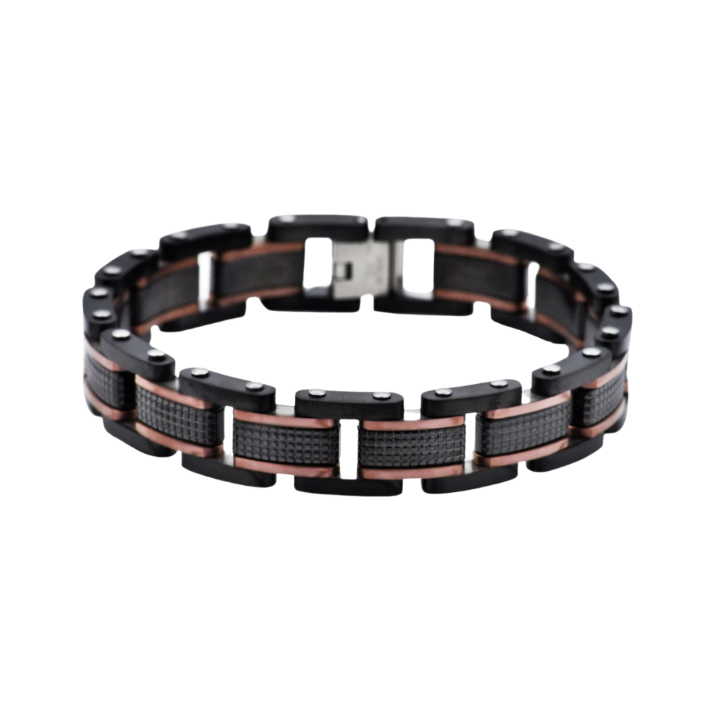 Black Plated Textured Stainless Steel Bracelet