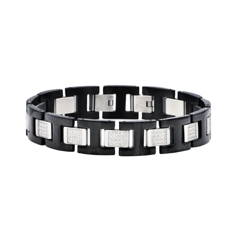 Black Stainless Steel Bracelet with Cubic Zirconia