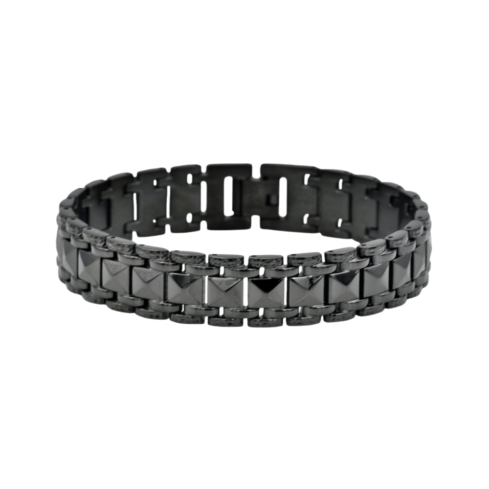 Black Plated Stainless Steel Pyramid Link Bracelet