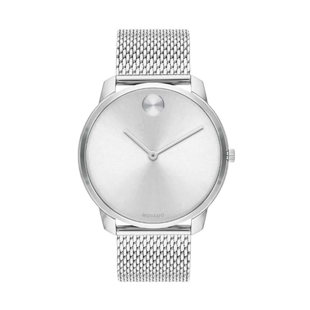 Movado Bold Quartz Silver Dial Stainless Steel Mesh Men's Watch