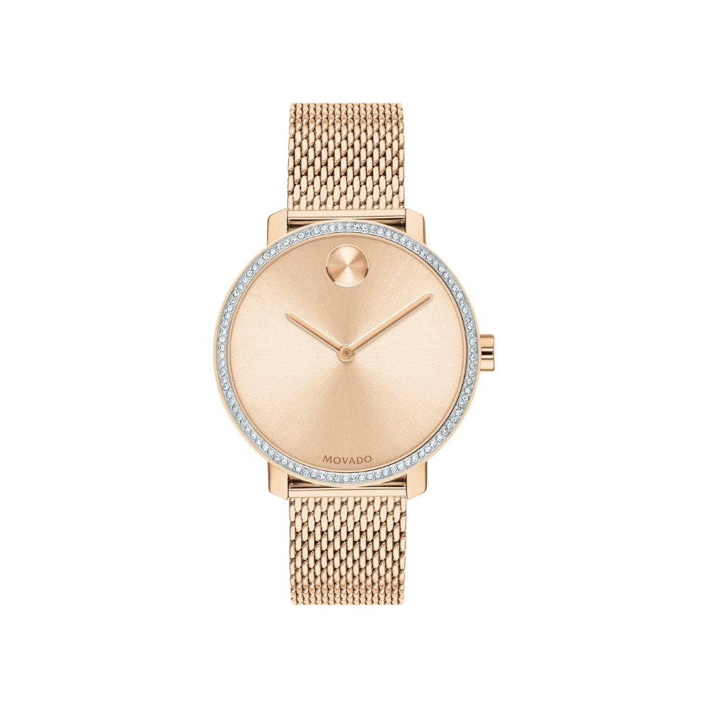 Movado Bold Shimmer Pale Rose Gold PVD Ladies Watch