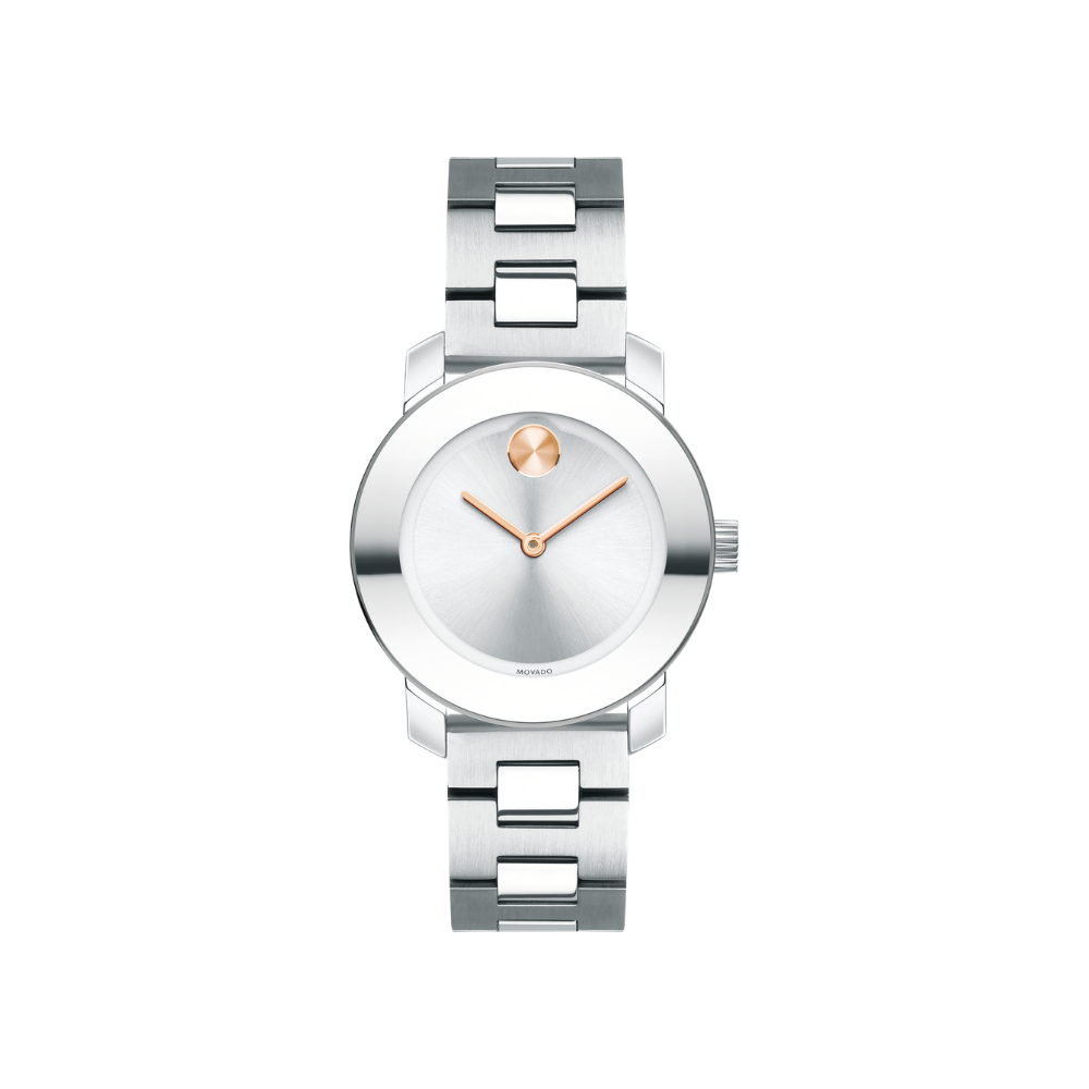 Movado Bold Silver Sunray Dial Stainless Steel Ladies Watch