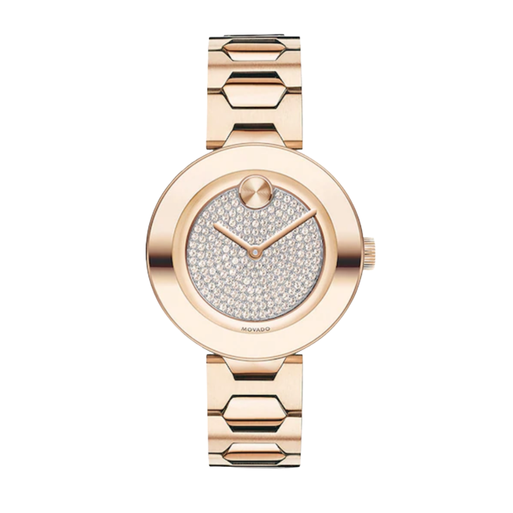 Movado Bold Crystal Pavé Rose Gold Tone Ladies Watch