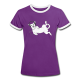 t-Shirt 'idle dog' (cotton) - purple/white