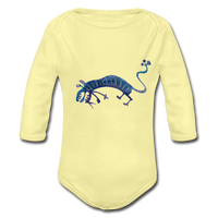 longsleeve babysuit 'funky beasts' (organic cotton, sizes 0-12 months) - washed yellow