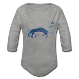 longsleeve babysuit 'funky beasts' (organic cotton, sizes 0-12 months) - heather grey