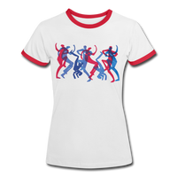 t-shirt 'breakbeat dancers' (cotton) - white/red
