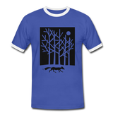 t-shirt 'fox in the moonlight' (cotton / polyester mix) - blue/white
