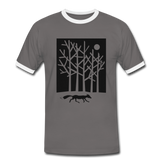 t-shirt 'fox in the moonlight' (cotton / polyester mix) - dark grey/white