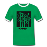 t-shirt 'fox in the moonlight' (cotton / polyester mix) - kelly green/white